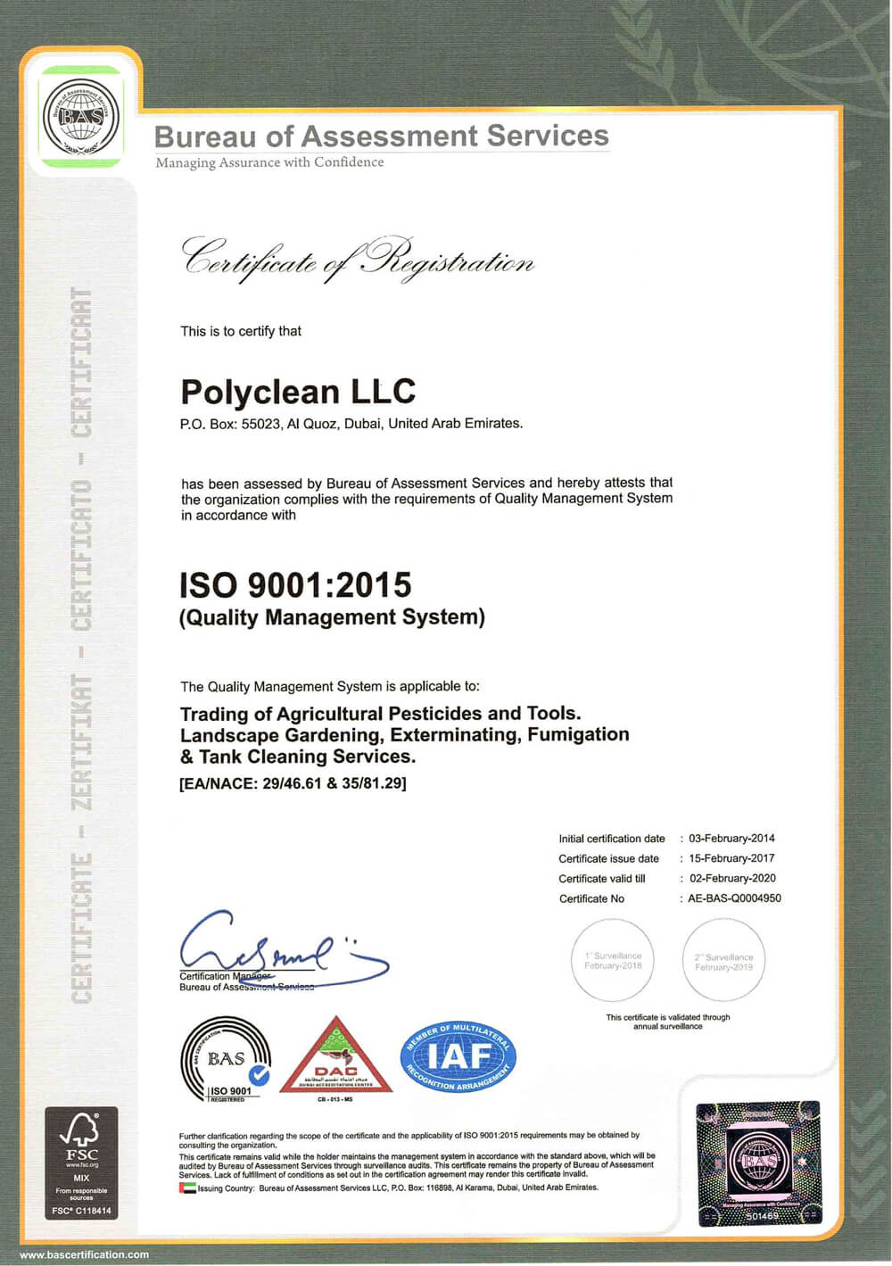Polyclean Quality Certification